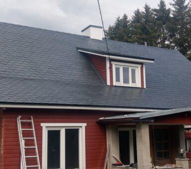 Сланцевая каменная крыша Deckung mit Octogones